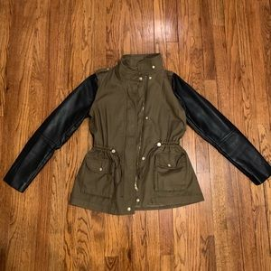 H&M Army Jacket w/Cinched Waist & Pleather Sleeves
